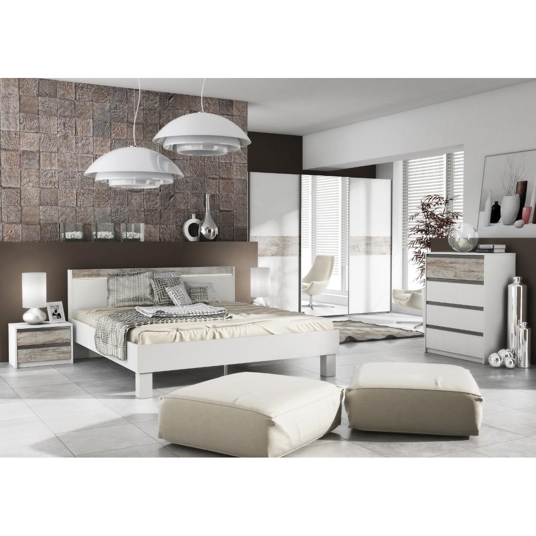 Schlafzimmer Komplett Elektra - Dekor - Weiß - 90 x 165 x ...