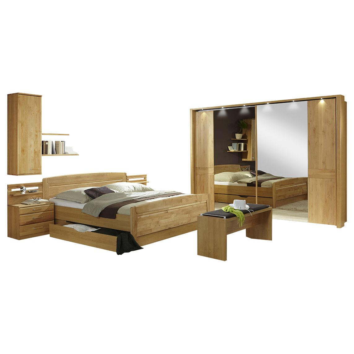 schlafzimmer komplett lausanne ii erle dekor erle massiv. Black Bedroom Furniture Sets. Home Design Ideas