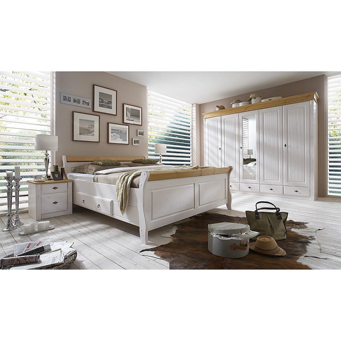 Schlafzimmer-Set Cenan I (4-teilig) - Kiefer massiv - Weiß gebeizt ...