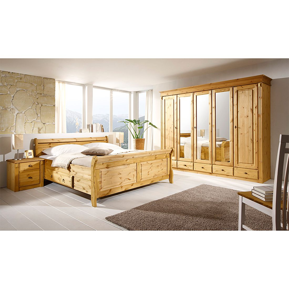 schlafzimmer set cenan iii 4 teilig kiefer massiv gebeizt lackiert. Black Bedroom Furniture Sets. Home Design Ideas