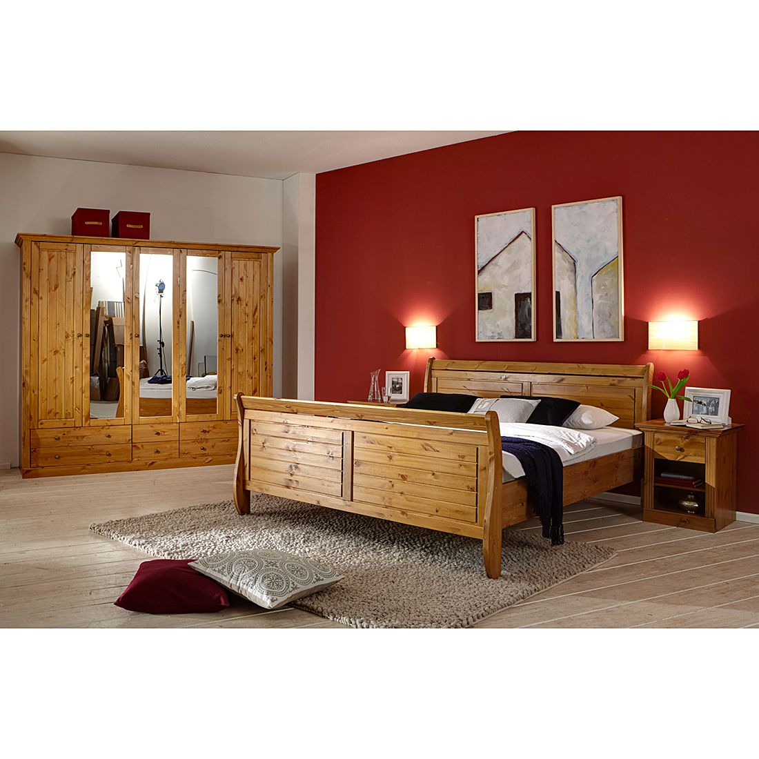 schlafzimmer set lyngby 4 teilig kiefer massiv. Black Bedroom Furniture Sets. Home Design Ideas