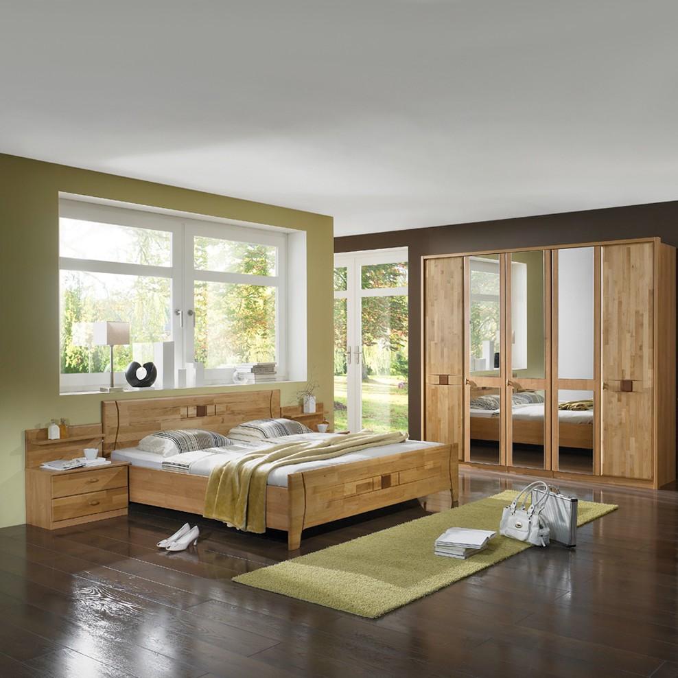 Schlafzimmer-Set Venus (4-teilig) – Erle teilmassiv – Bett, zwei Nachtkommoden & Kleiderschrank – Liegefläche: 200 x 200 cm cm, Franco Möbel günstig online kaufen