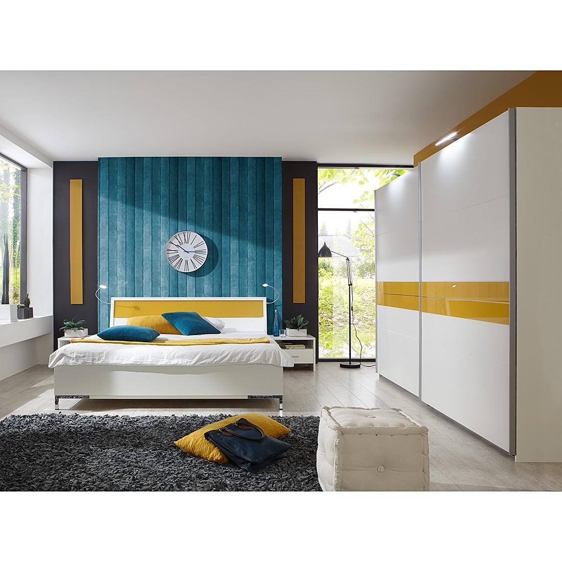 Schlafzimmerkombination Acapulco (4-teilig) – Alpinweiß/Gelb – Schrankbreite: 225 cm, Wimex online kaufen