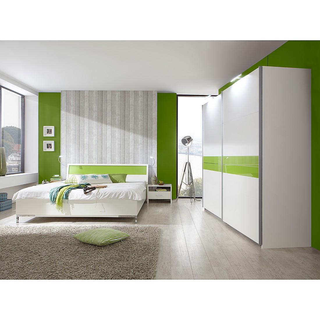 Schlafzimmerkombination Acapulco (4-teilig) – Alpinweiß/Grün – Schrankbreite: 225 cm, Wimex kaufen