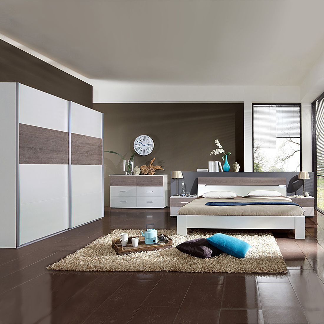 Schlafzimmerkombination Madrid (4-teilig) – Alpinweiß/Montana-Eiche – Bettbreite 180cm, Wimex online kaufen