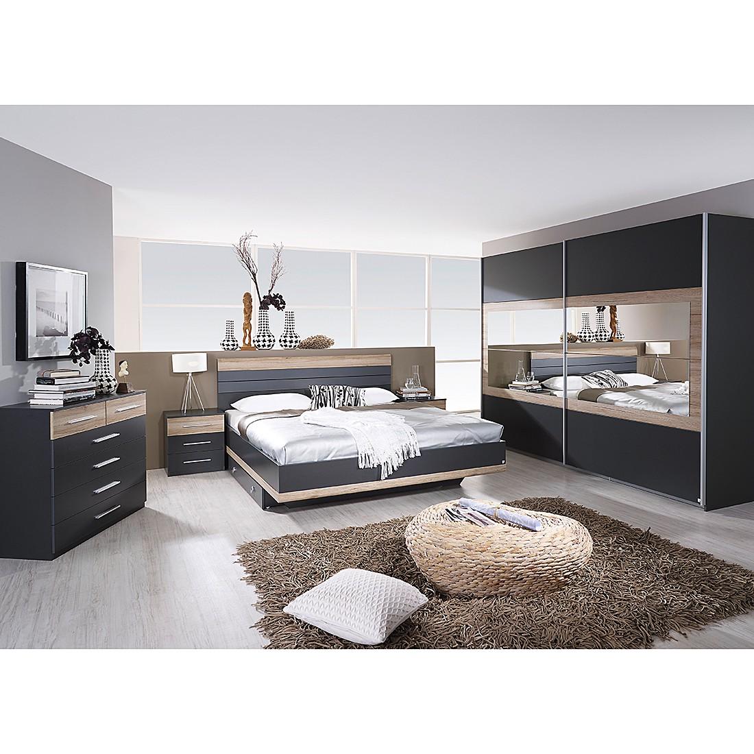 Schlafzimmerkombination Tarragona (4-teilig) – Grau Metallic/Eiche Sanremo Dekor, Rauch günstig kaufen