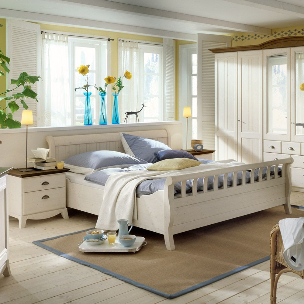 Schlafzimmermöbel Set Arabico (3-teilig) – Weiß/Braun – Bett & 2 Nachtkommoden – Liegefläche: 140 x 200 cm, 4Home günstig
