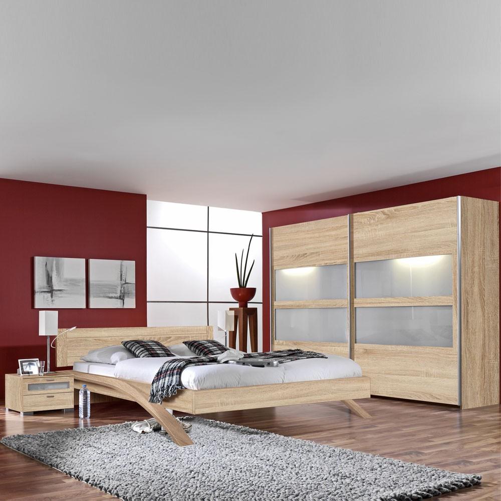 Schlafzimmermöbel Set Bolero (4-teilig) – Eiche Dekor/Milchglas – Bett, 2 Nachtkommoden & Schwebetürenschrank, PerfectFurn online kaufen