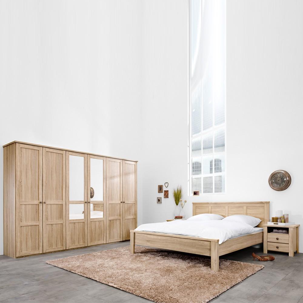 Schlafzimmermöbel Set David (4-teilig) – Eiche Dekor – Bett, 2 Nachtkommoden & Drehtürenschrank, PerfectFurn online kaufen