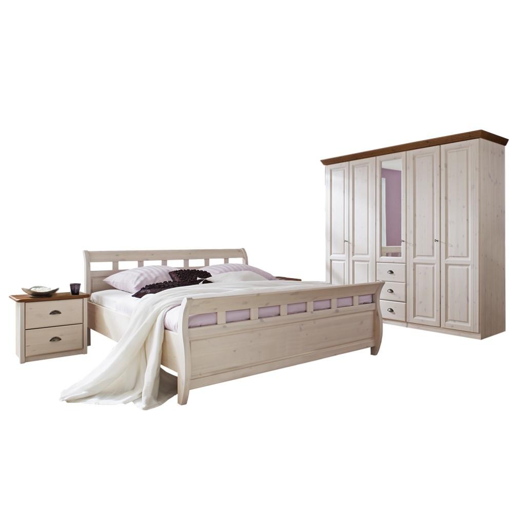 Schlafzimmermöbel Set Excellent (4-teilig) – Kiefer Massivholz – Weiß – Bett, 2 Nachtkommoden, Schrank, 4Home bestellen