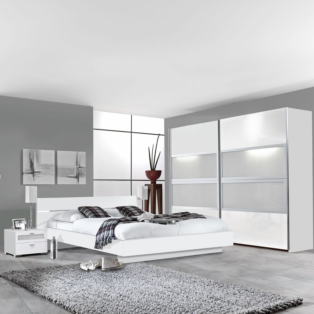 schlafzimmerm bel set federica 4 teilig wei milchglas bett 2 nachtkommoden. Black Bedroom Furniture Sets. Home Design Ideas