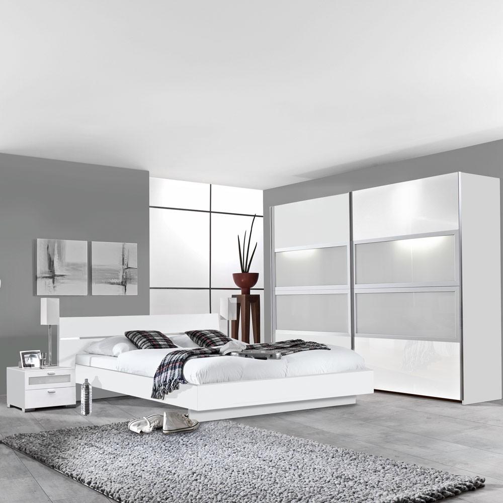 Schlafzimmermöbel Set Federica (4-teilig) – Weiß/Milchglas – Bett, 2 Nachtkommoden & Schwebetürenschrank, PerfectFurn günstig online kaufen