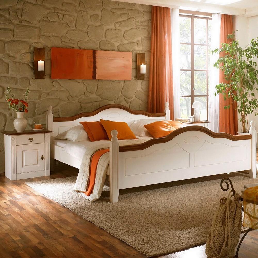 Schlafzimmermöbel Set Filigrano (3-teilig) – Weiß/Nussbaumfarbig – Bett & zwei Nachtkommoden – Liegefläche: 200 x 200 cm, Nature Dream kaufen