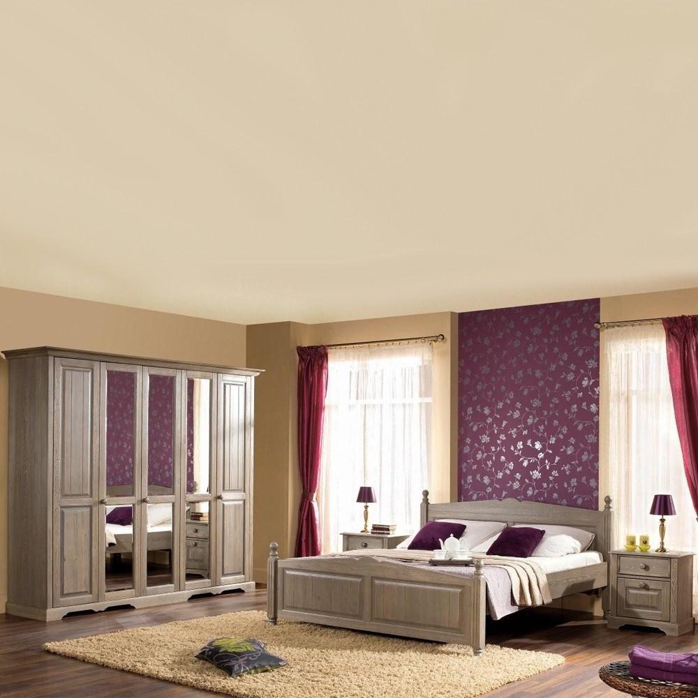 Schlafzimmermöbel Set Flavour (4-teilig) – Pinie Teilmassiv – Bett, Schrank & zwei Nachtkommoden, Möbel Exclusive online kaufen
