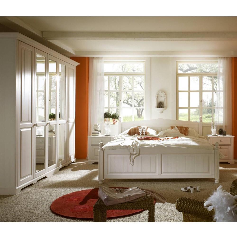 Schlafzimmermöbel Set Lightning (4-teilig) – Pinie Teilmassiv Weiß – Bett, 2 Nachtkonsolen & Schrank, Nature Dream günstig