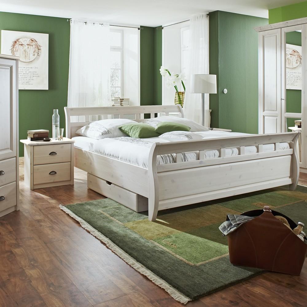 schlafzimmerm bel set magister 3 teilig kiefer wei bett 2 nachtkommoden liegefl che. Black Bedroom Furniture Sets. Home Design Ideas