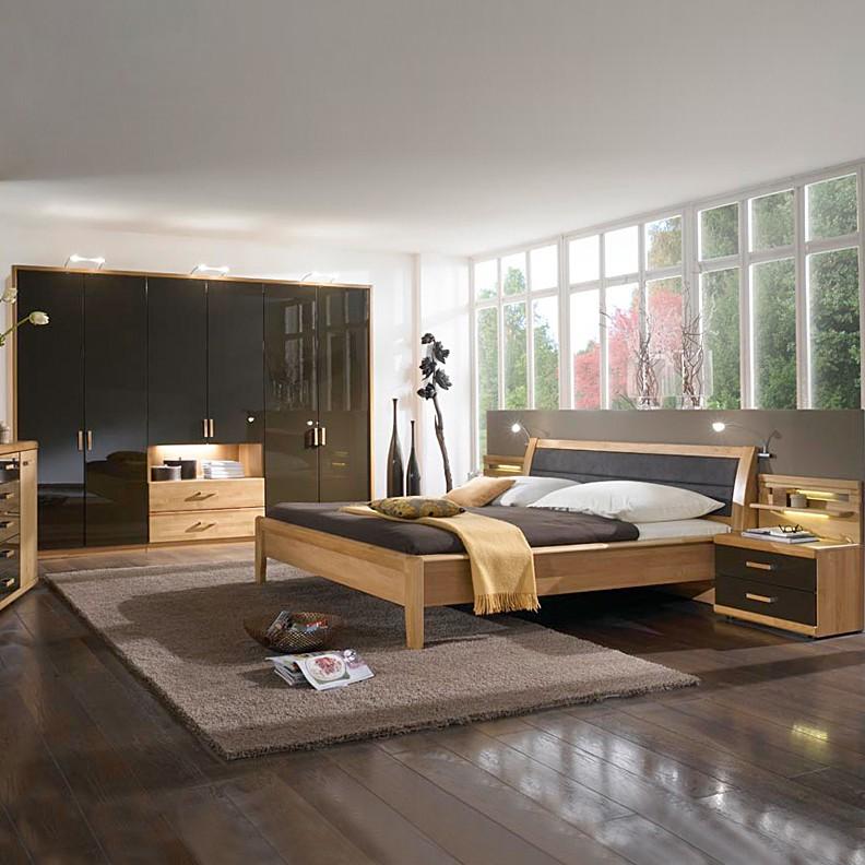 Schlafzimmermöbel Set Merkur (4-teilig) – Erle teilmassiv/Hochglanz Braun – Schrank, Bett & zwei Nachtkommoden – Liegefläche: 180 x 200 cm cm, Franco Möbel online bestellen