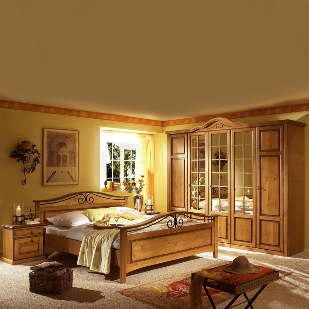 Schlafzimmermöbel Set Pino (4-teilig) – Pinie Teilmassiv – Bett, Schrank & zwei Nachtkommoden, Nature Dream günstig