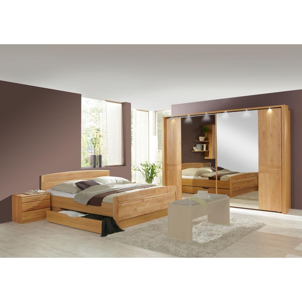 Schlafzimmermöbel Set Sempre (4-teilig) – Erle Teilmassiv – Bett, 2 Nachtkommoden & Schiebetürenschrank – Ausführung: Mit Beleuchtung, Franco Möbel günstig online kaufen