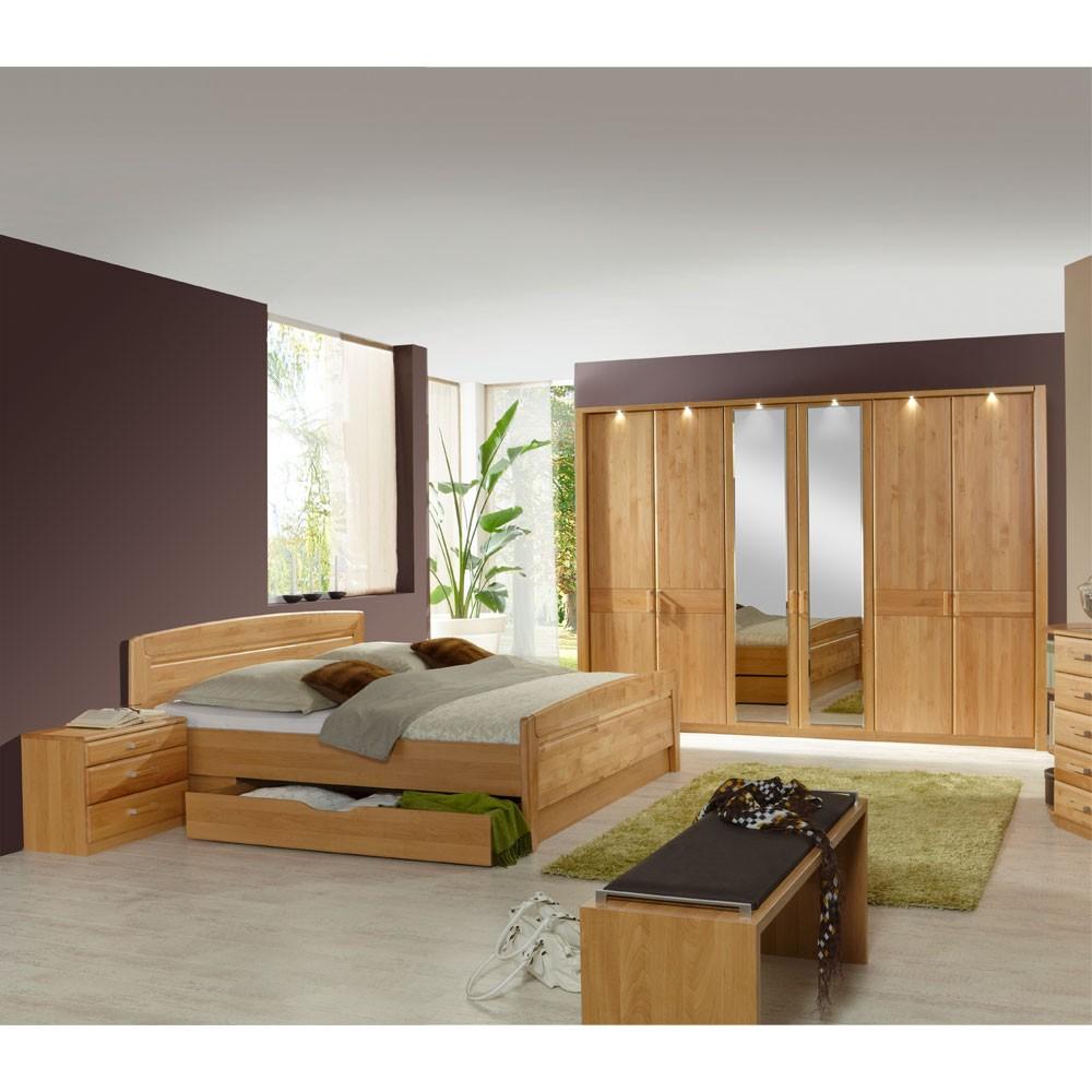 Schlafzimmermöbel Set Sempre (4-teilig) – Erle Teilmassiv – Bett, 2 Nachtkommoden & Schrank – Ausführung: Mit Beleuchtung, Franco Möbel günstig bestellen