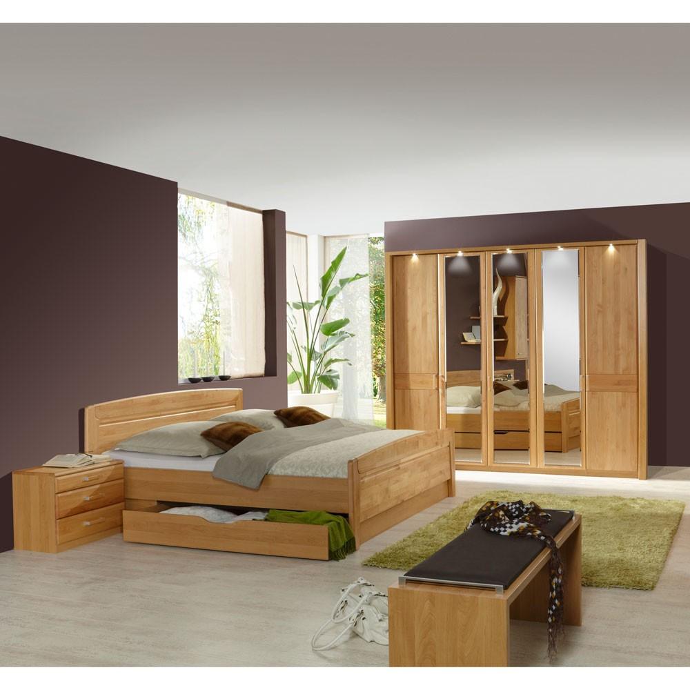 Schlafzimmermöbel Set Sempre (4-teilig) – Erle Teilmassiv – Bett, 2 Nachtkommoden & Schrank – Ohne Beleuchtung, Franco Möbel günstig