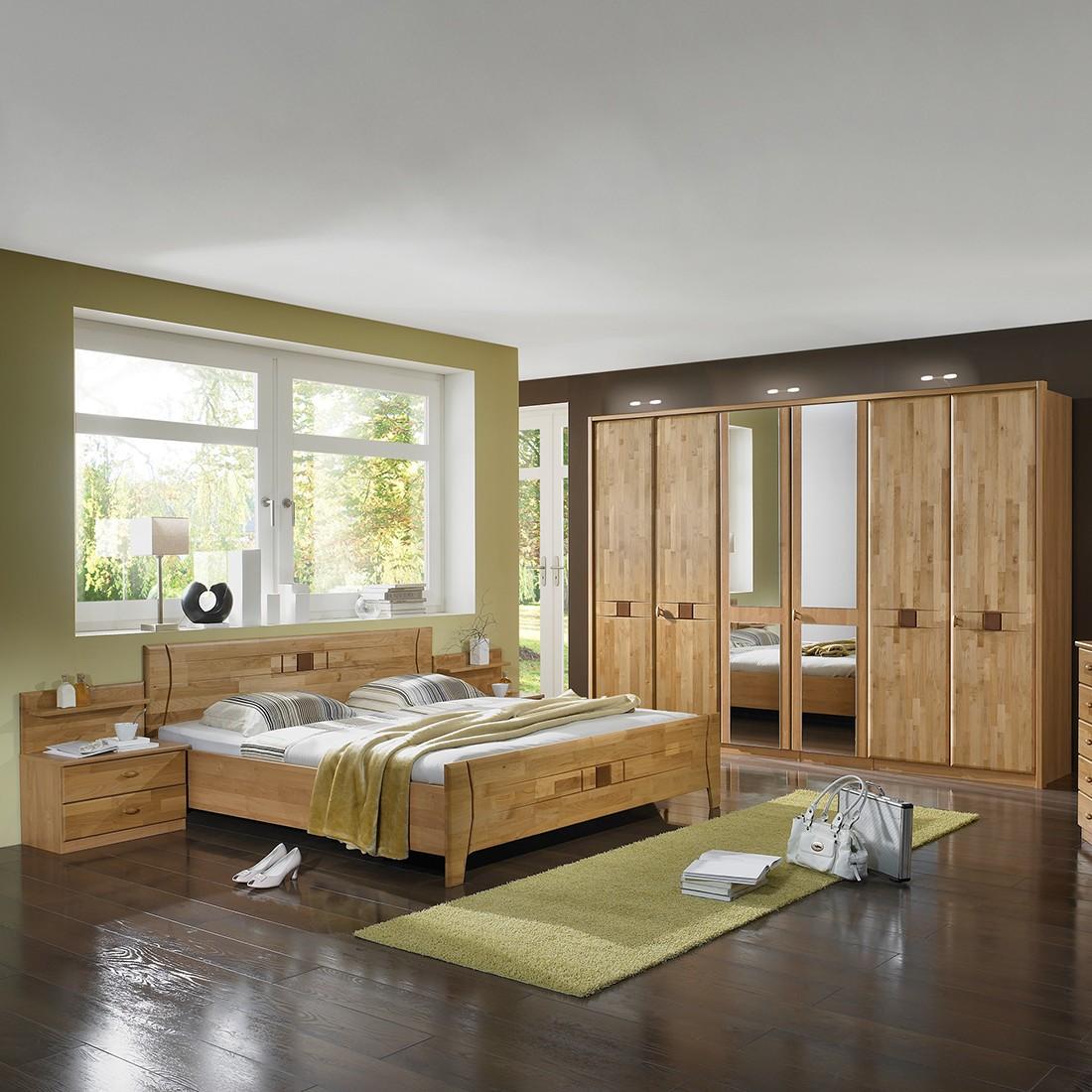 Schlafzimmermöbel Venus Venus (4-teilig) – Erle teilmassiv – Bett, zwei Nachtkommoden & Schrank – Liegefläche: 200 x 200 cm cm, Franco Möbel günstig kaufen