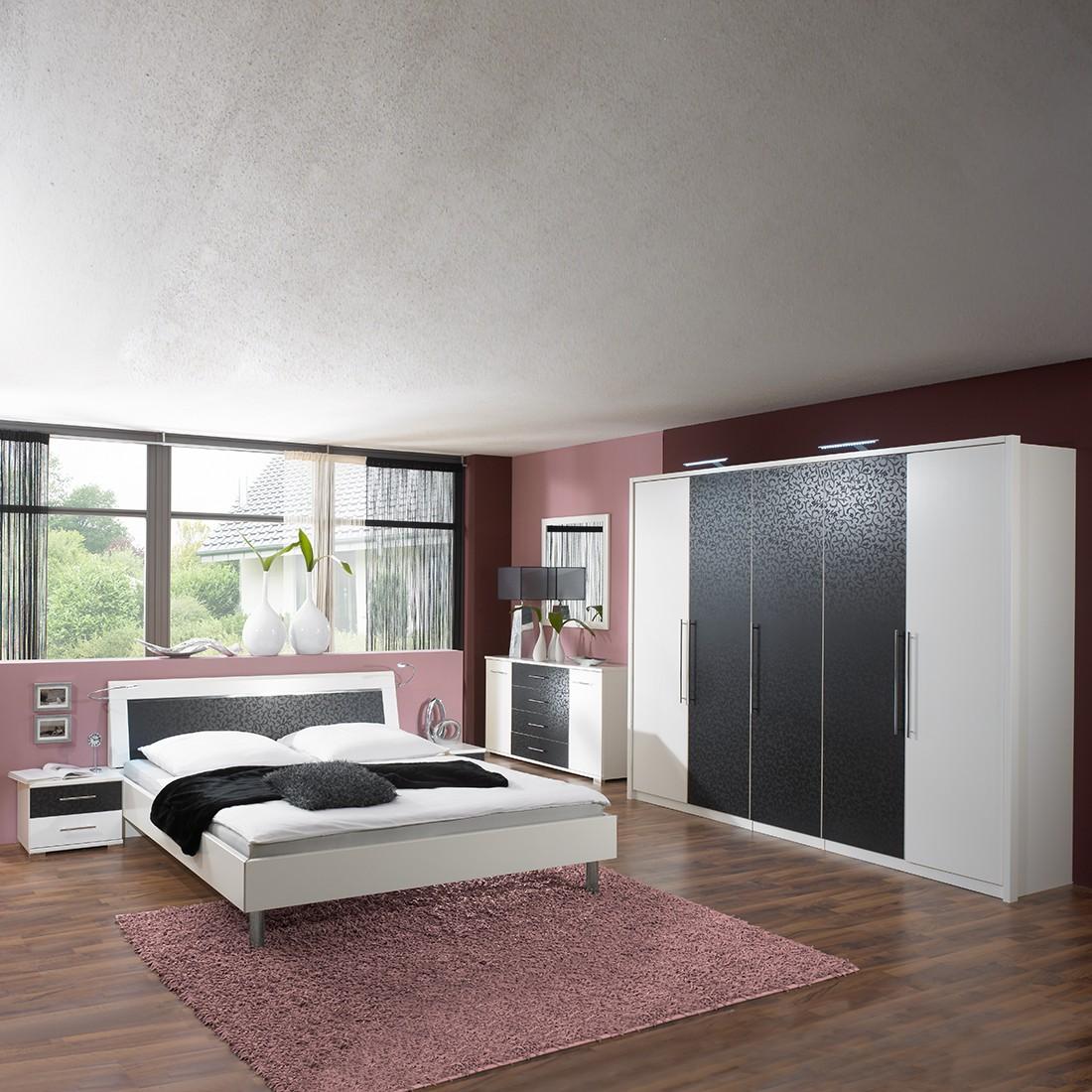 Schlafzimmermöbel Set Zara (4-teilig) – Weiß/Schwarz – Bett, Drehtürenschrank & zwei Nachtschränke – Liegefläche: 140 x 200 cm, Franco Möbel online kaufen