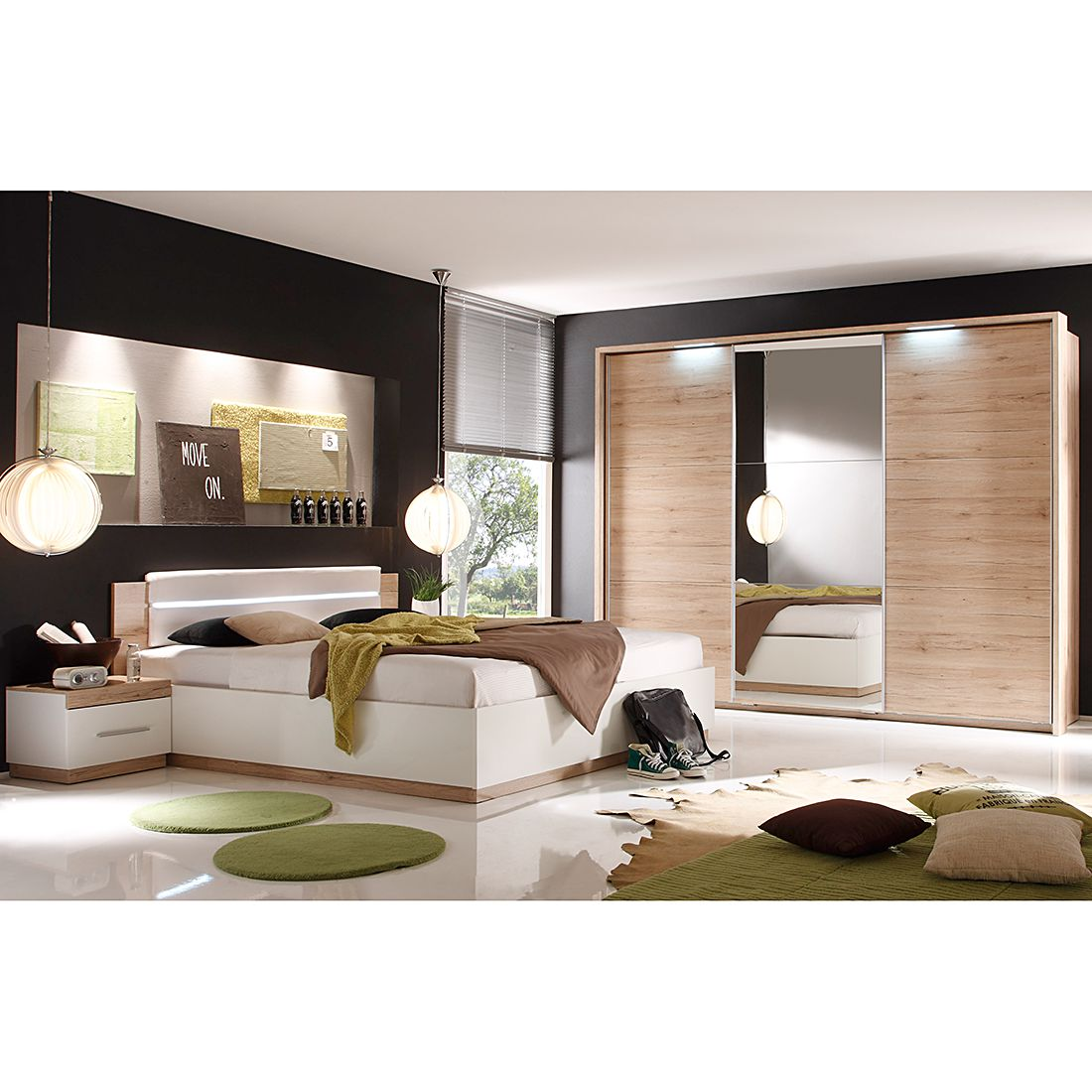 garderoben set neston 5 teilig supermatt wei eiche. Black Bedroom Furniture Sets. Home Design Ideas