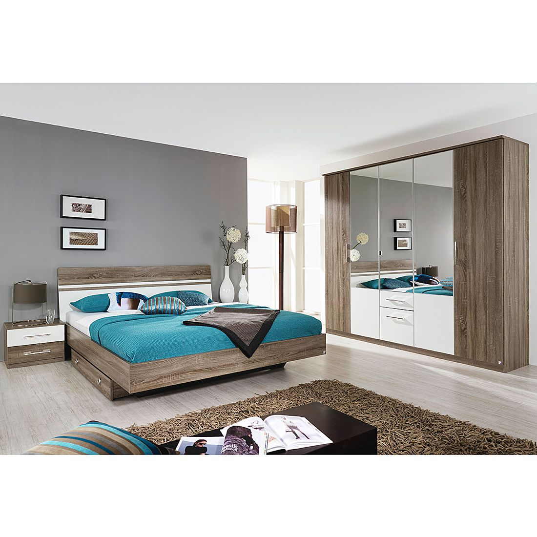 schlafzimmerset arles 4 teilig mit dreht ren kombischrank eiche havanna alpinwei mit bett. Black Bedroom Furniture Sets. Home Design Ideas