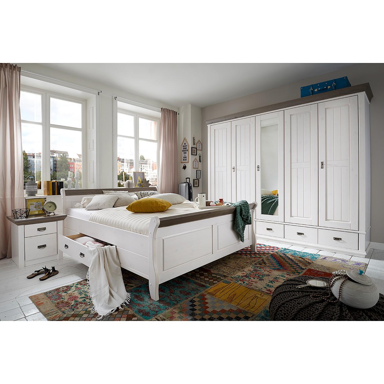 Schlafzimmerset Frida (4-teilig) - Kiefer massiv - Weiß / Grau, Landhaus Classic