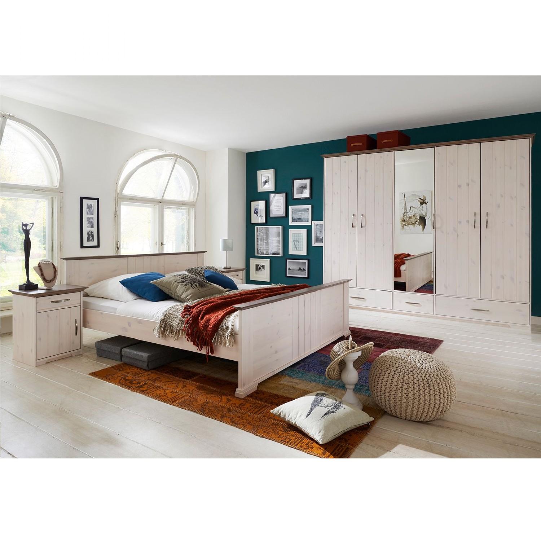 Schlafzimmerset Hanstholm (4-teilig) - Kiefer Weiß lasiert, Steens