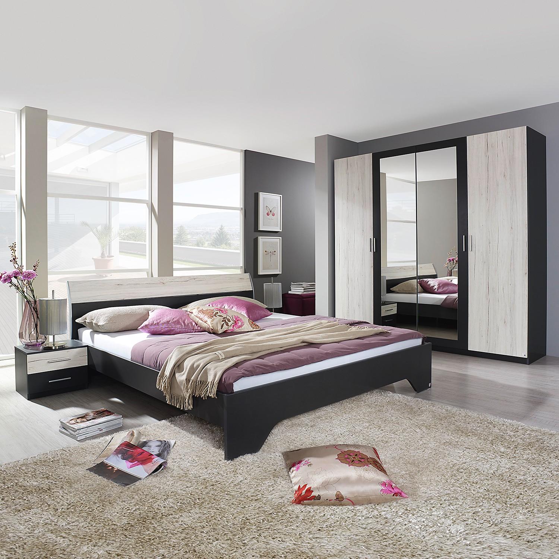 Schlafzimmerset Heinsberg-Extra (4-teilig) – Graumetallic / Eiche Sanremo weiß Dekor – 180 x 200cm, Rauch Packs günstig kaufen