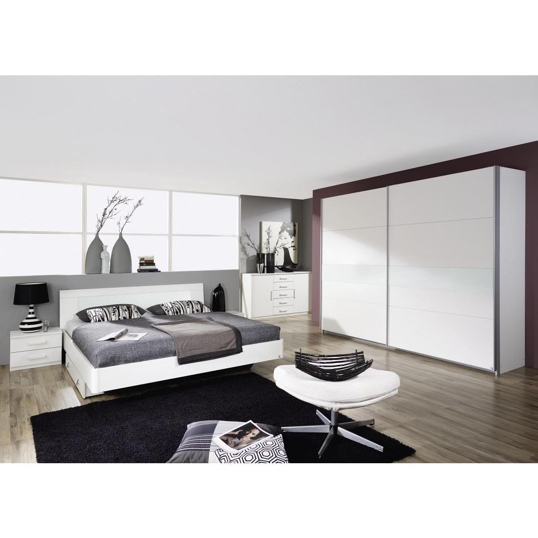 Schlafzimmerset Narbonne (4-teilig) - Alpinweiß/Glas Weiß ...