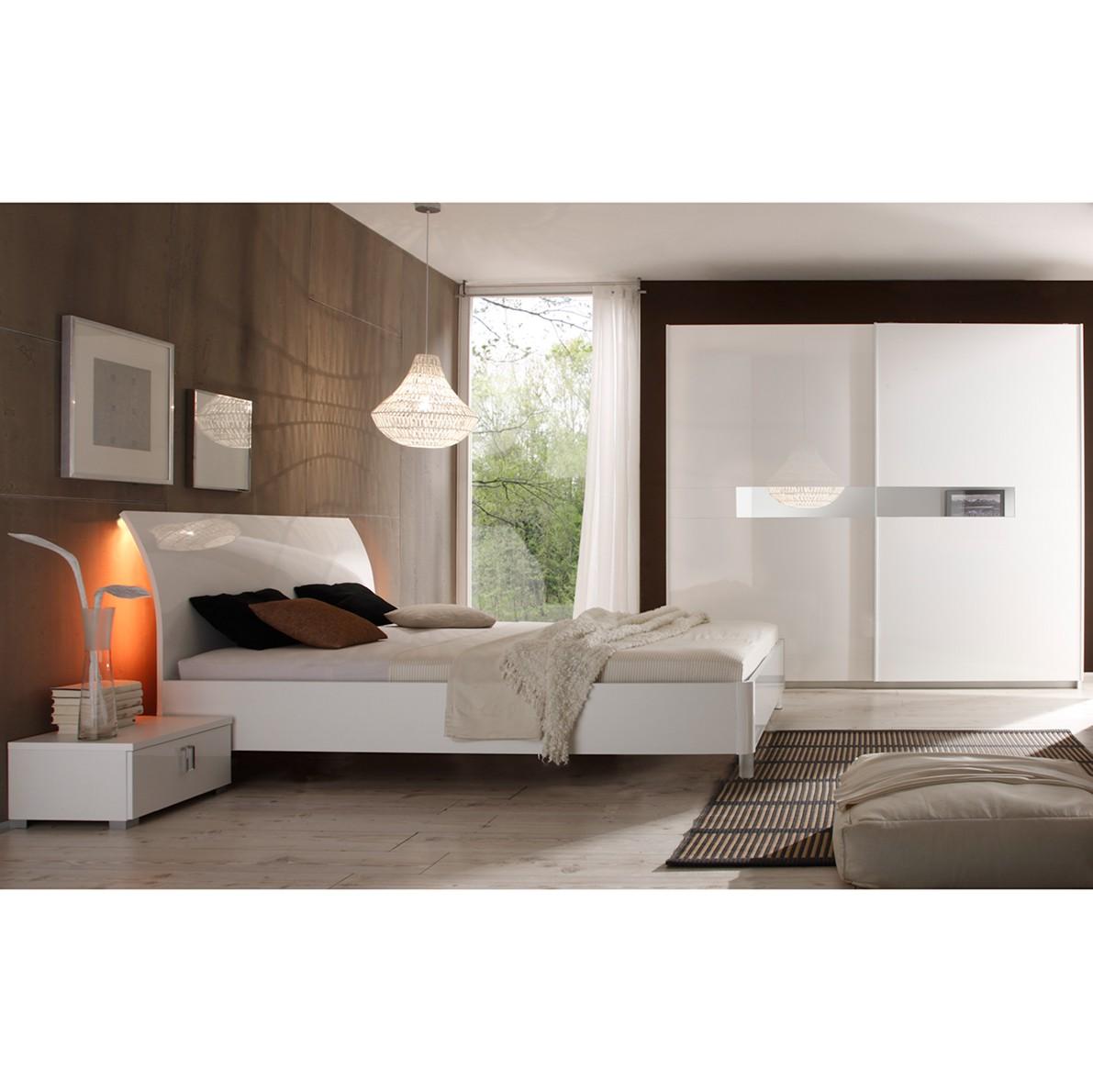 Schlafzimmerset I Lidia - Hochglanz Weiß, Lc Mobili