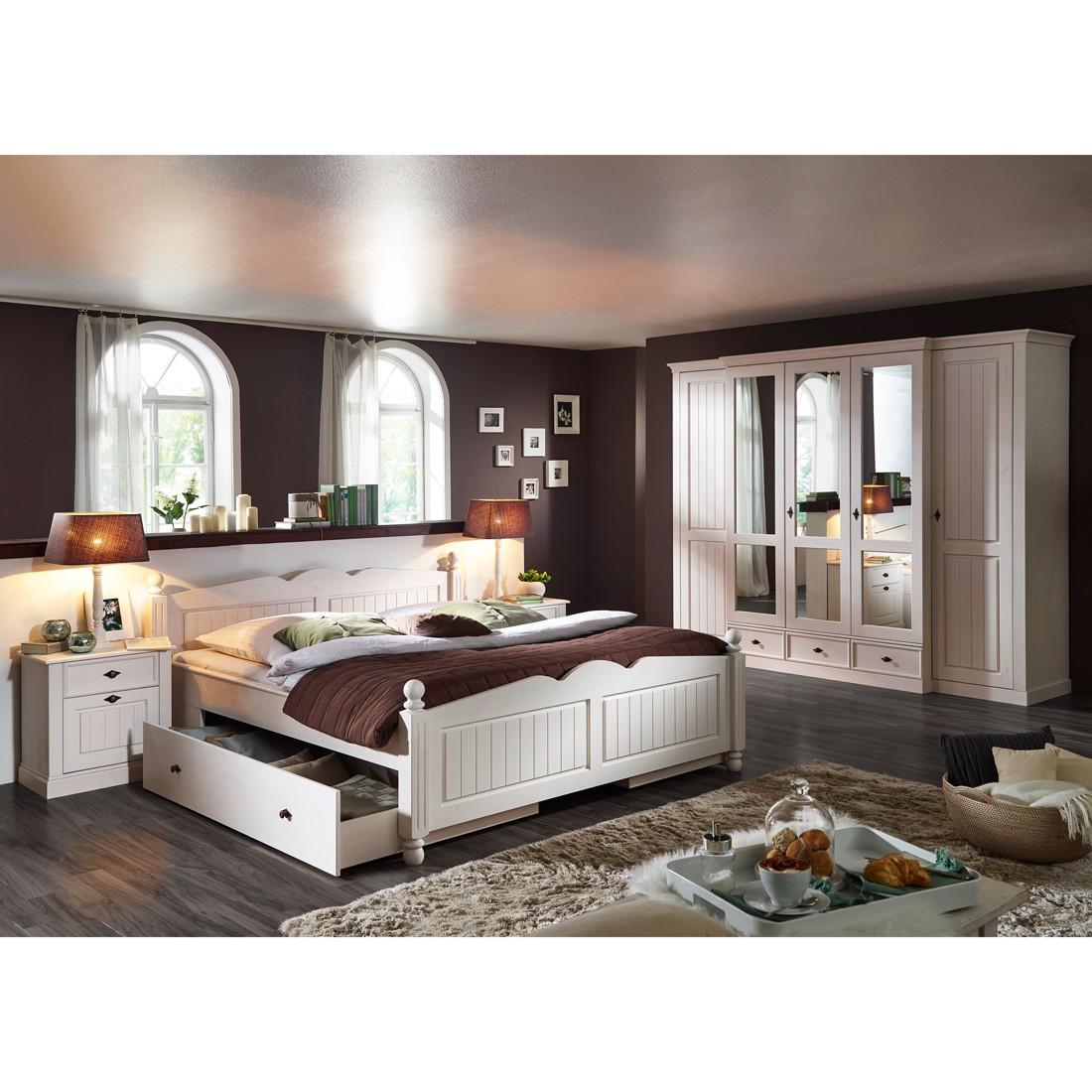 Schlafzimmerset Ischgl (5-teilig) - Kiefer massiv - Weiß inkl. Bettkästen, Jack and Alice
