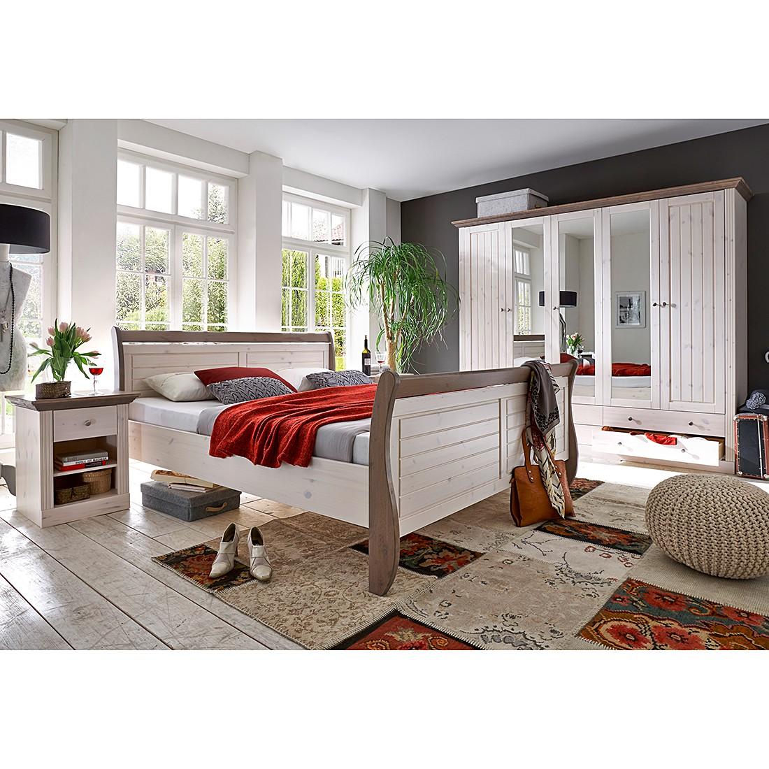 Schlafzimmerset Lyngby (4-teilig) - Kiefer Weiß lasiert & lackiert / Steingrau, Steens