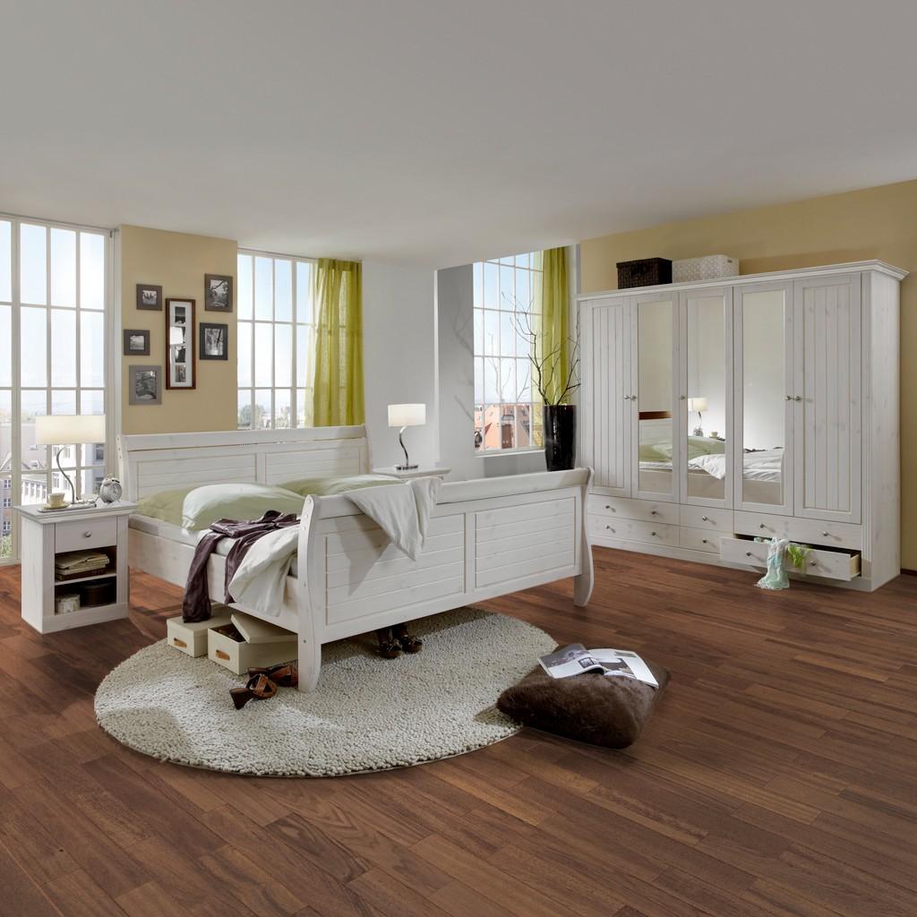 Schlafzimmerset Lyngby (4-teilig) - Kiefer Weiß gebeizt & lackiert, Steens
