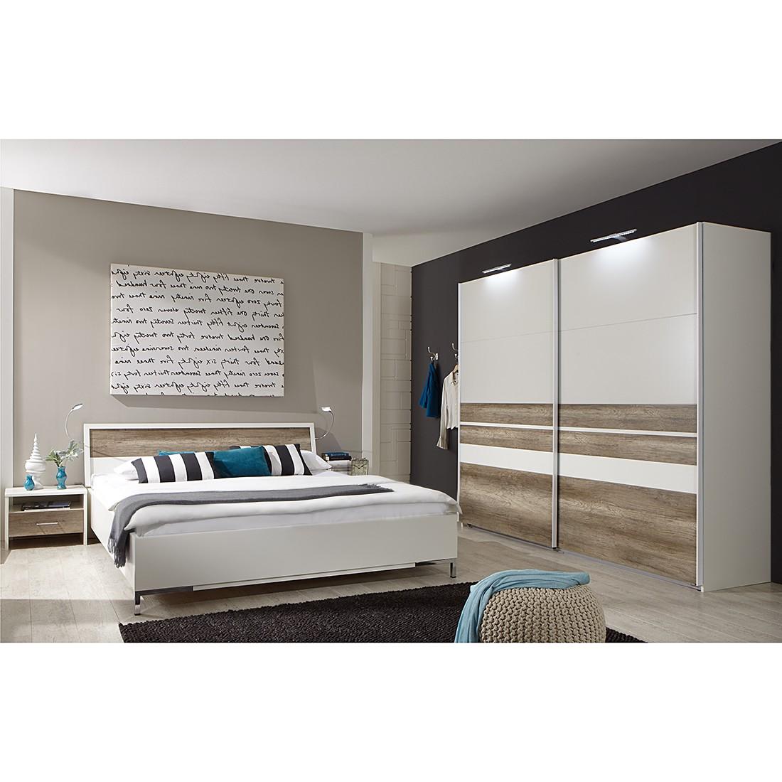 Schlafzimmerset Manu (4-teilig) - Alpinweiß/Wildeiche Dekor (Liegefläche: 160 x 200 cm)
