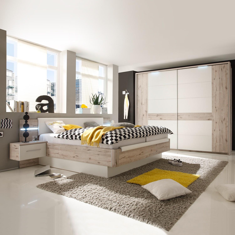 EEK A+, Schlafzimmerset Penai (4-teilig) - Weiß / Sandeiche Dekor, mooved