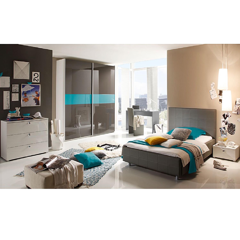 Schlafzimmerset Smart I (5-teilig) - Hochglanz Weiß/Anthrazit/Türkis, Lc Mobili