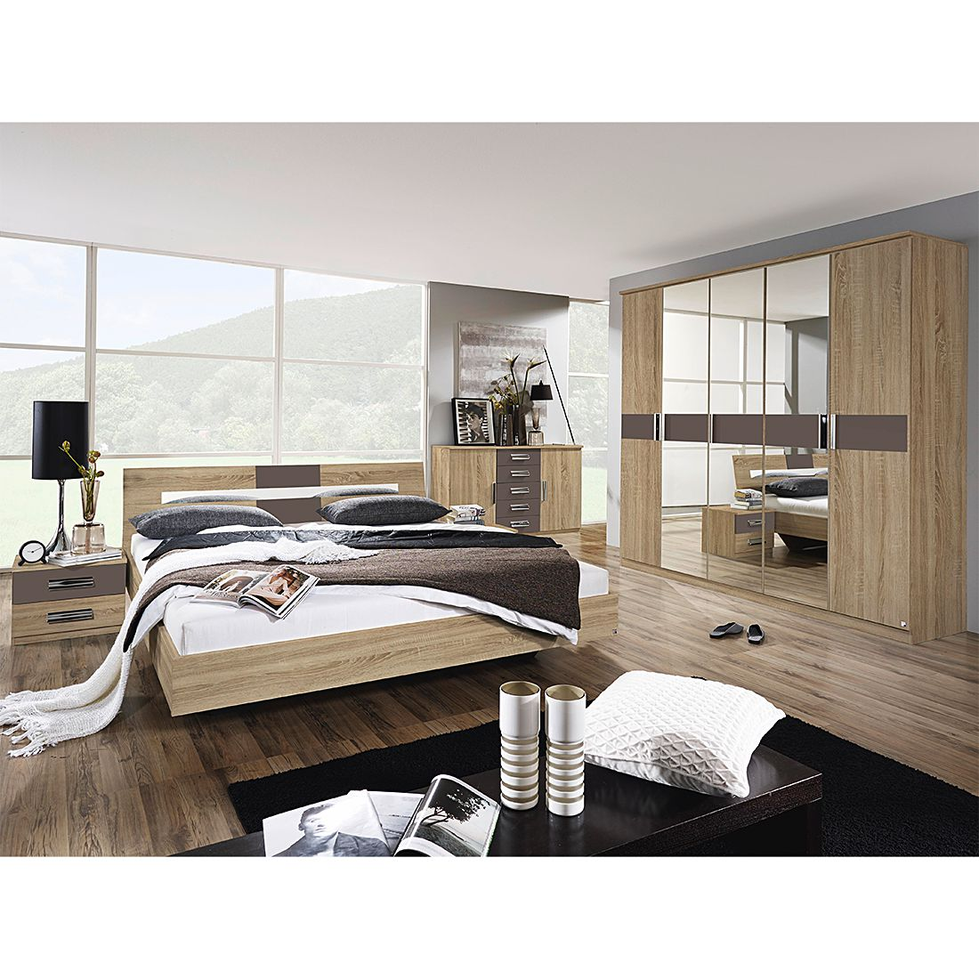 schlafzimmerset sonoma 4 teilig eiche sonoma lavagrau mit bett 160cm breit. Black Bedroom Furniture Sets. Home Design Ideas