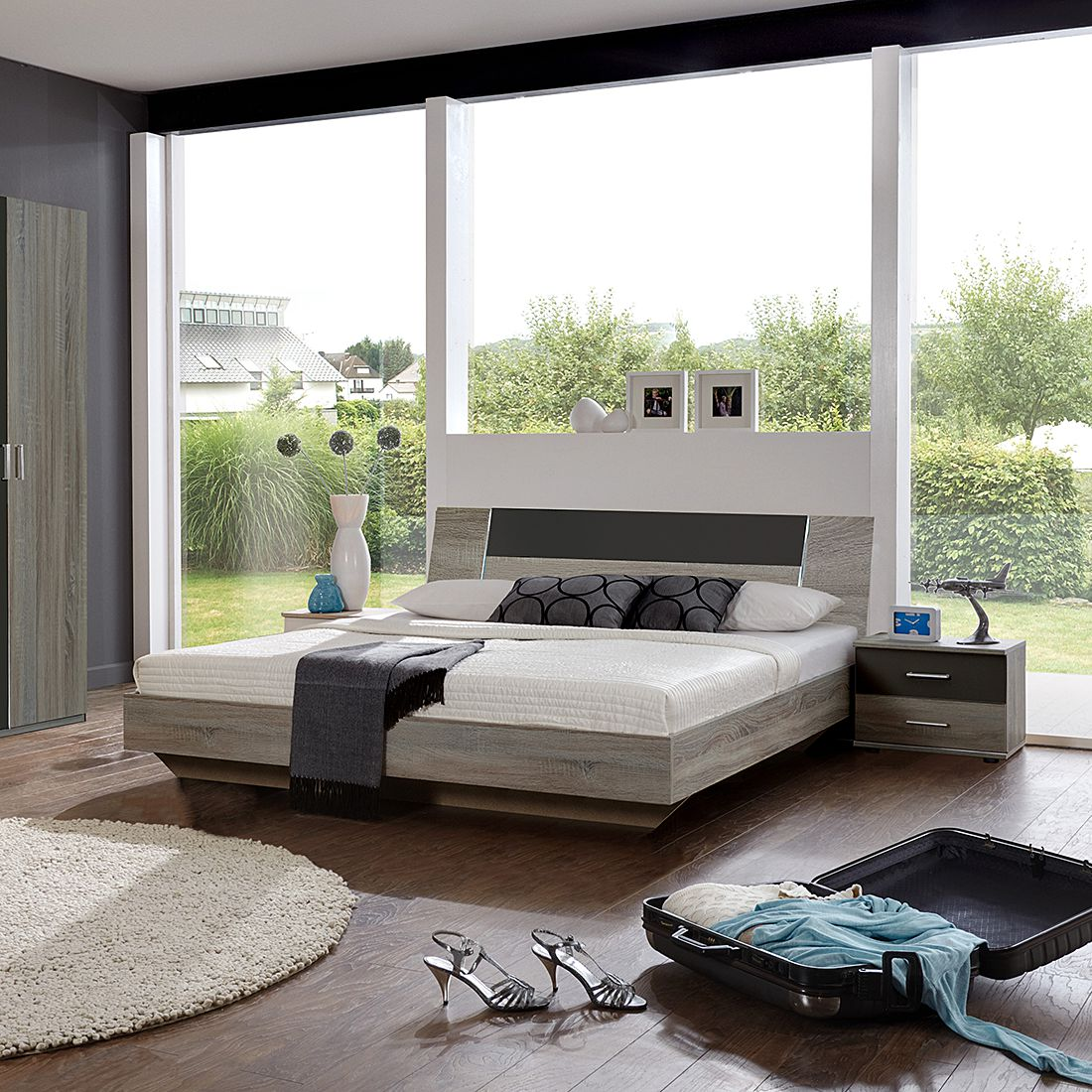 bettanlage tendence montana eiche lavafarbig schlafzimmerset tendence montana eiche. Black Bedroom Furniture Sets. Home Design Ideas