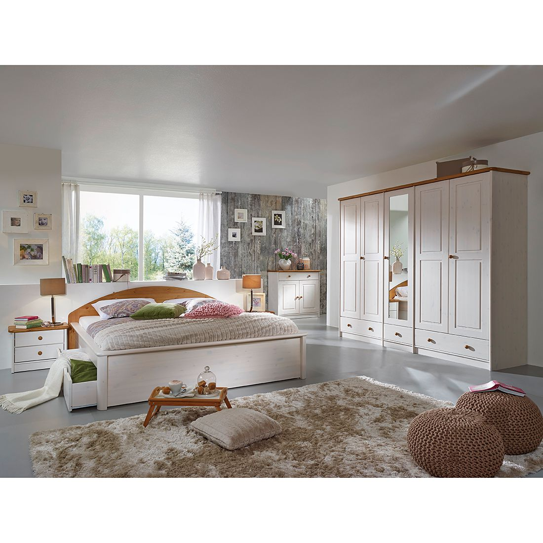 Schlafzimmerset Valga (4-teilig) - Kiefer massiv - Weiß / Eiche, Jack and Alice