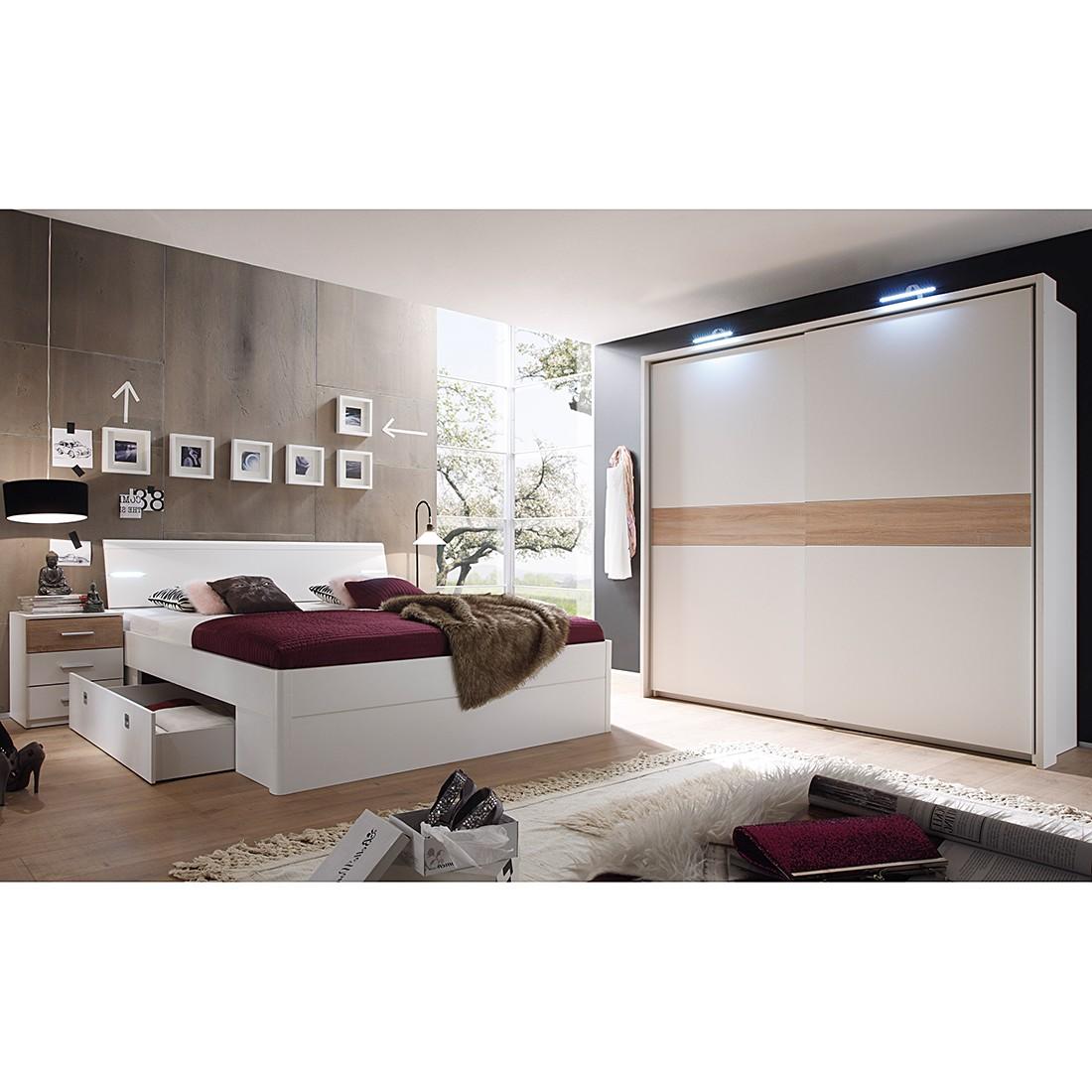 Schlafzimmerset Veneta (4-teilig) – Weiß/Eiche Sanremo Dekor, Modoform günstig