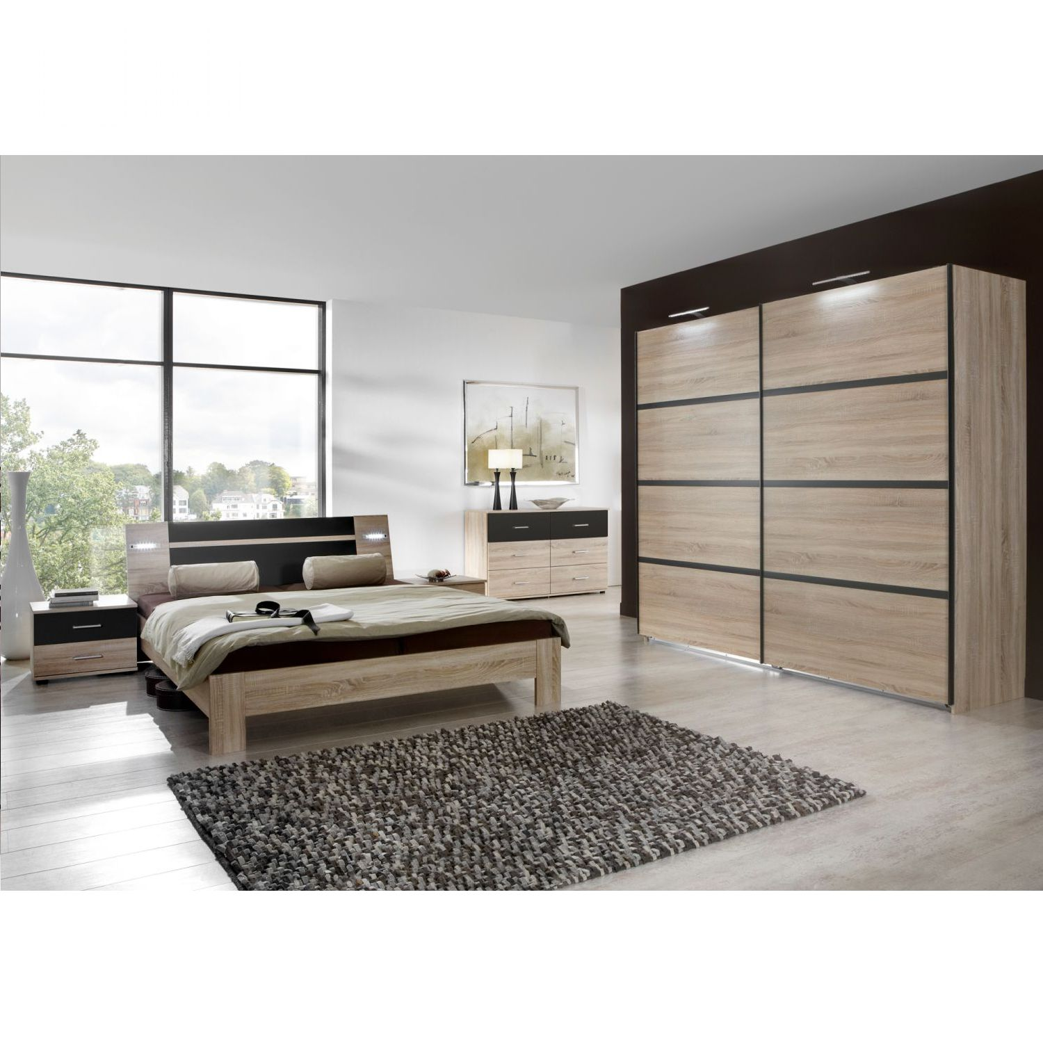 schlafzimmerset lacovia 4 teilig eiche s gerau lava 140x200cm wimex g nstig online kaufen. Black Bedroom Furniture Sets. Home Design Ideas