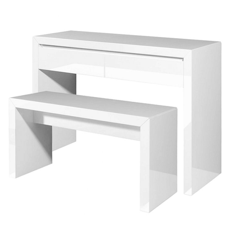 Schminktisch Maiden – Weiß – 2er-Set (Tisch & Bank), Jack and Alice günstig kaufen