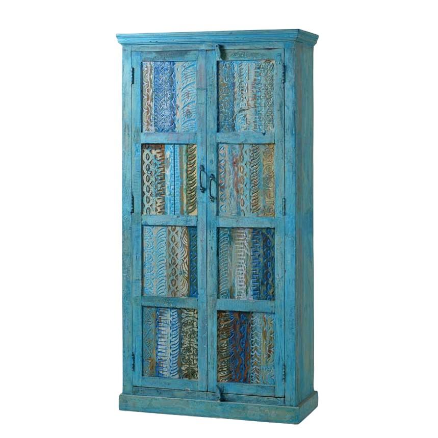 Schrank Intiatos – Recyclingholz Massiv – Blau/Bunt, Möbel Exclusive online kaufen
