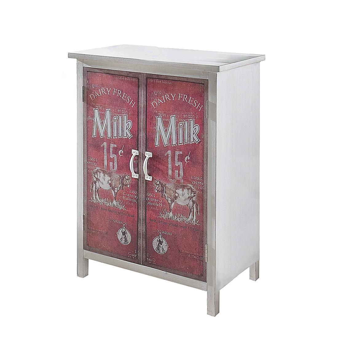 Schrank Milk - Fichtenholz/MDF - Weiß/Rot