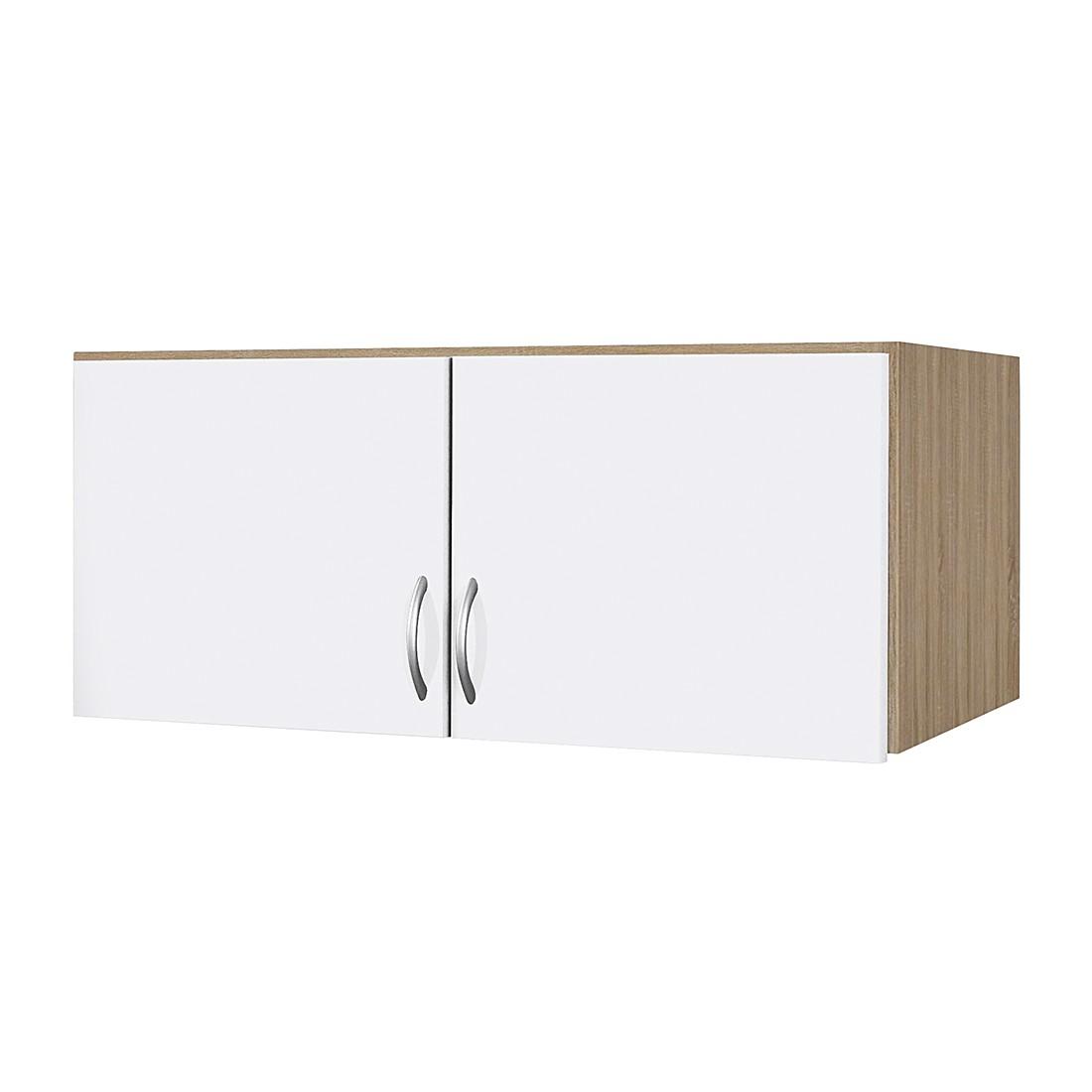 Schrankaufsatz Case - Alpinweiß/Sonoma Eiche Dekor (Aufsatzbreite: 136 cm - 3-türig)