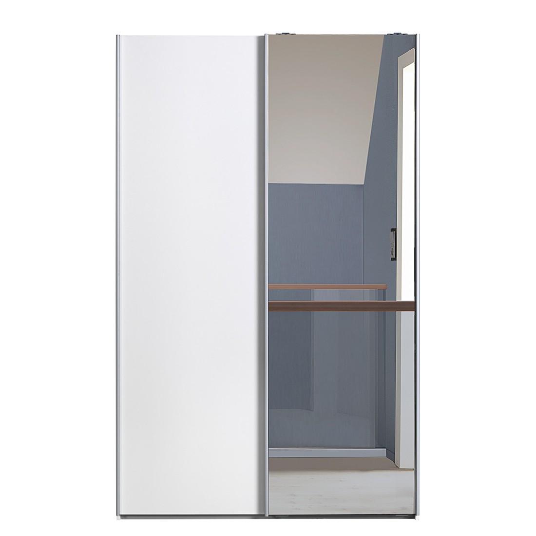 Schwebetürenschrank Soft Smart 120 Cm Weiß Weiß 1 Spiegeltür